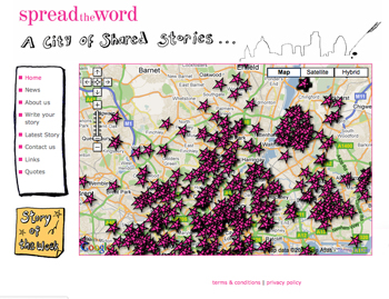 Screen shot from the website cityofsharedstories.org.uk The image shows a map of London, covered in pink stars.