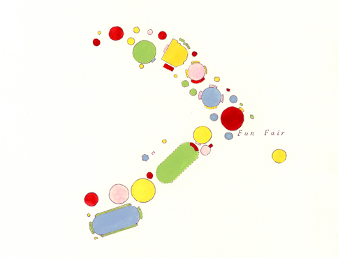 Gouache and pencil drawing of a mapping of a funfair. This consists of several rounded shapes, coloured in pastel shades of blue, pink, red, green and yellow. The drawing also features the word 'fun fair'.