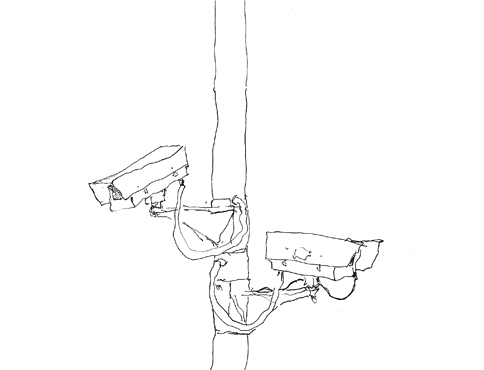 Pen drawing of two cctv cameras mounted mid way up a lampost. They are facing opposite ways.