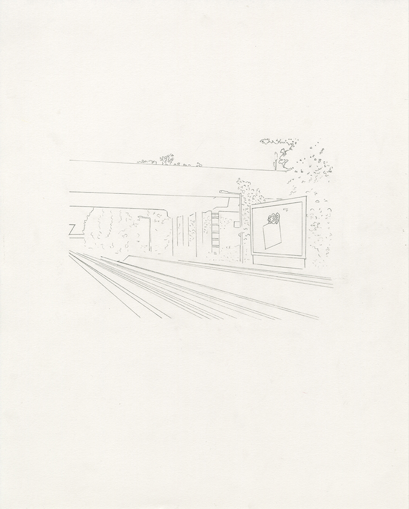 Drawing of road bridge over tracks at Streatham Hill Station