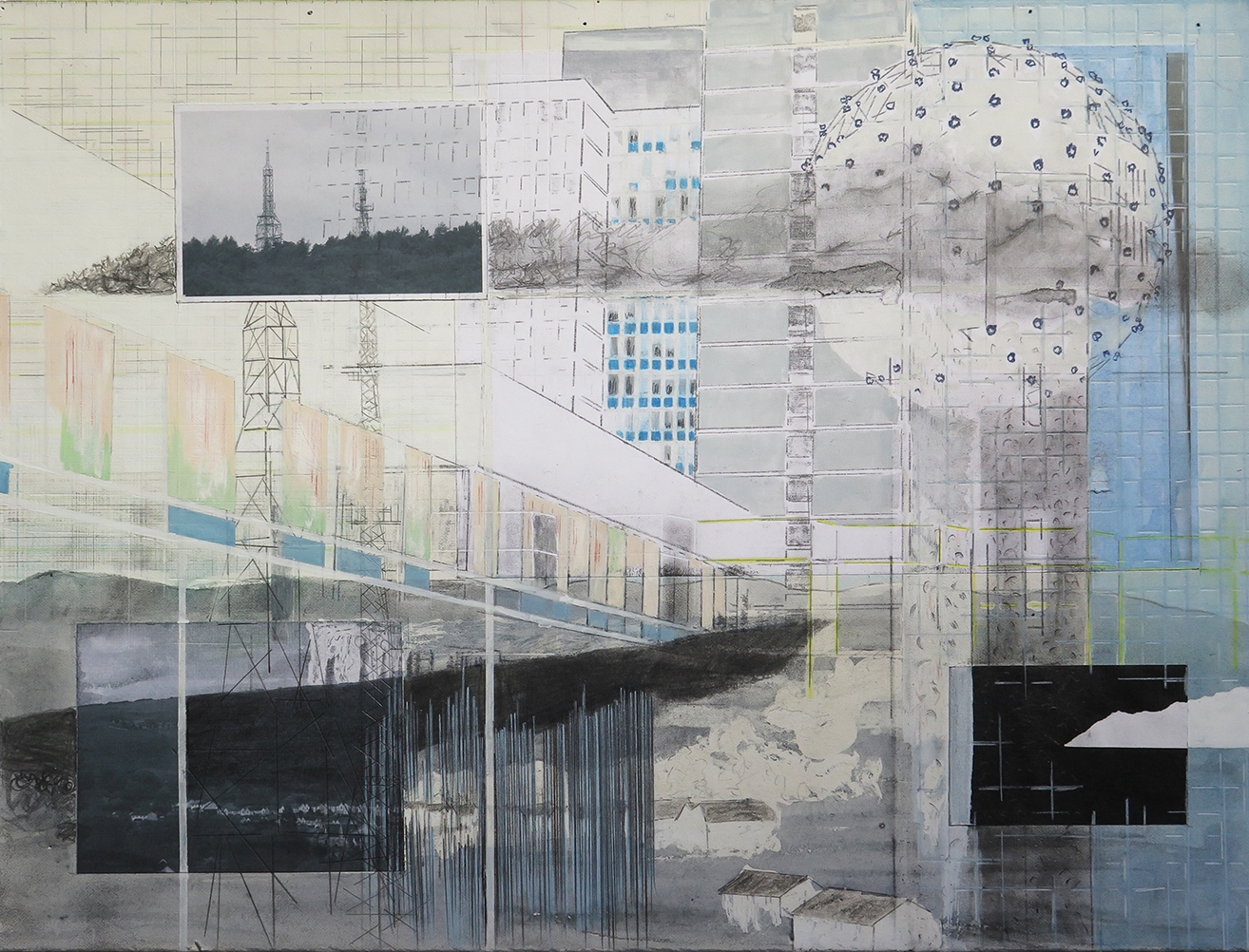 Pencil and mixed media Distant Places (west) 2