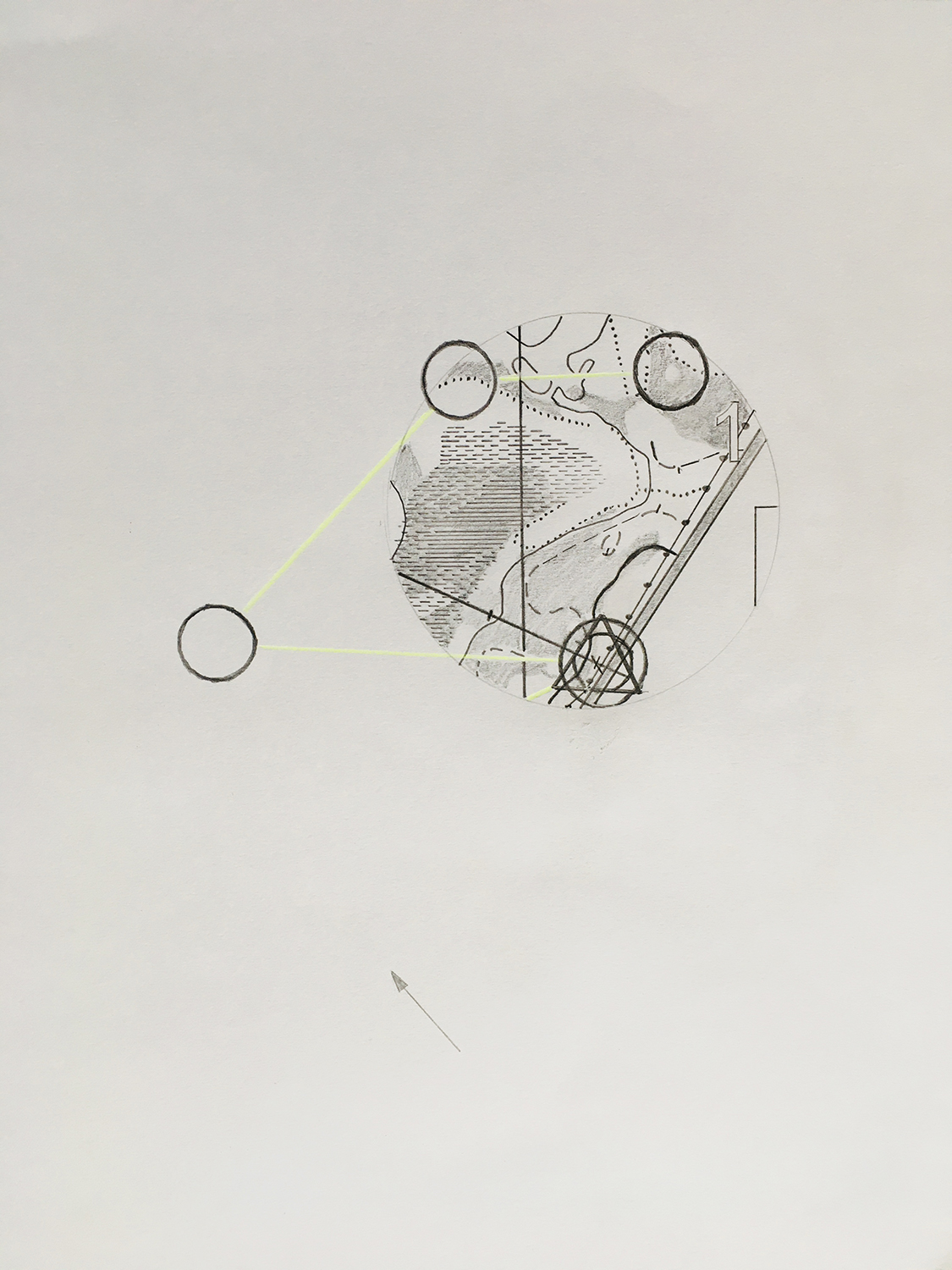 A pencil drawing of part of an orienteering map