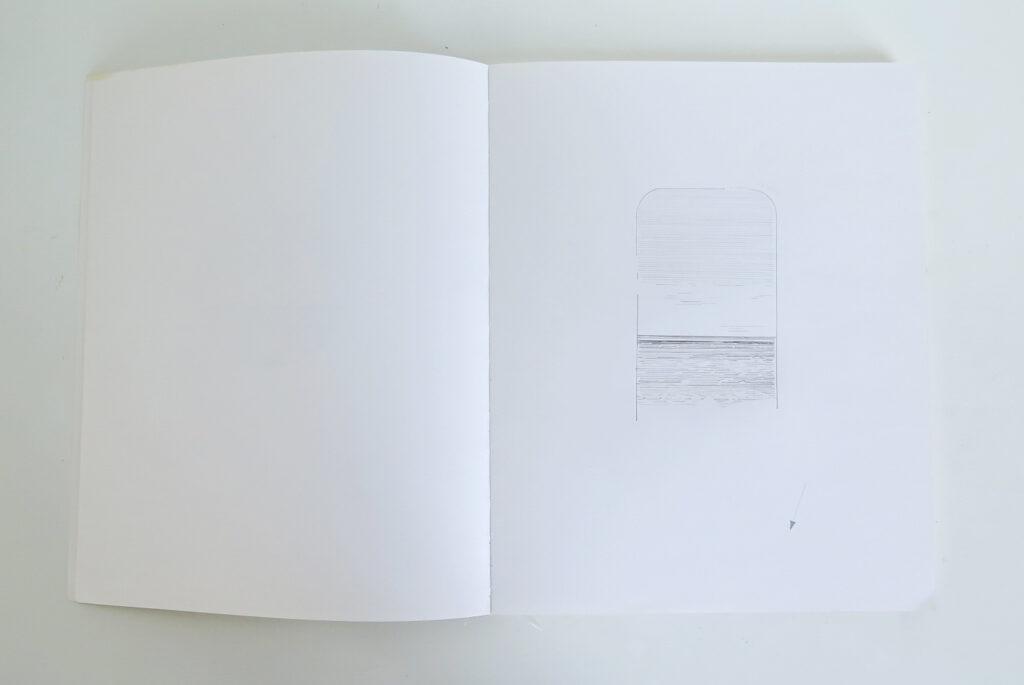 a faint pencil line drawing of a sea horizon